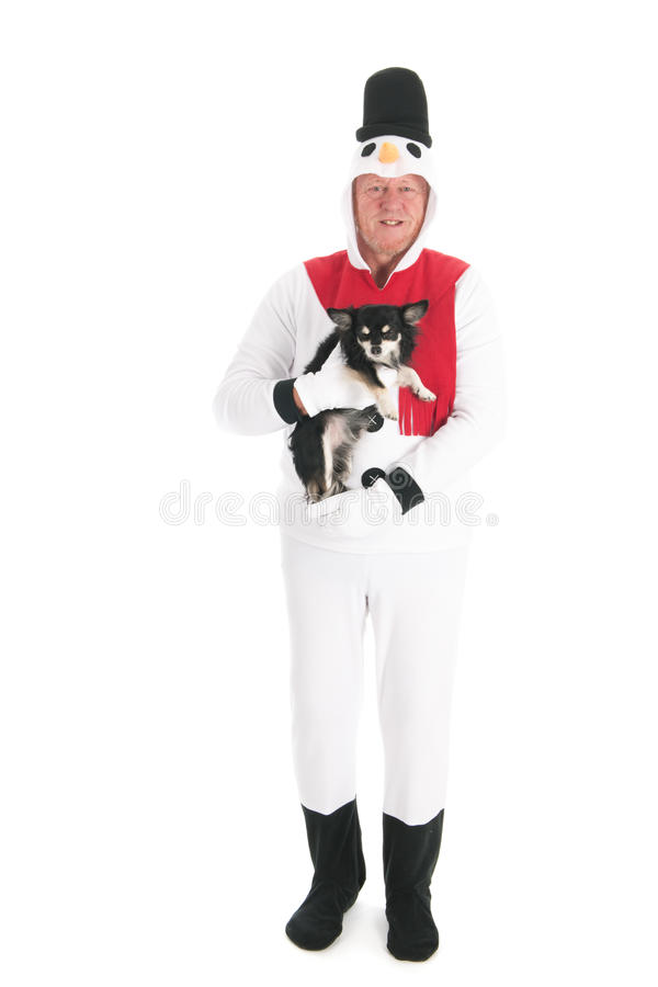 Human snowman with dog. Human snowman with little Chihuahua isolated over white background royalty free stock photos