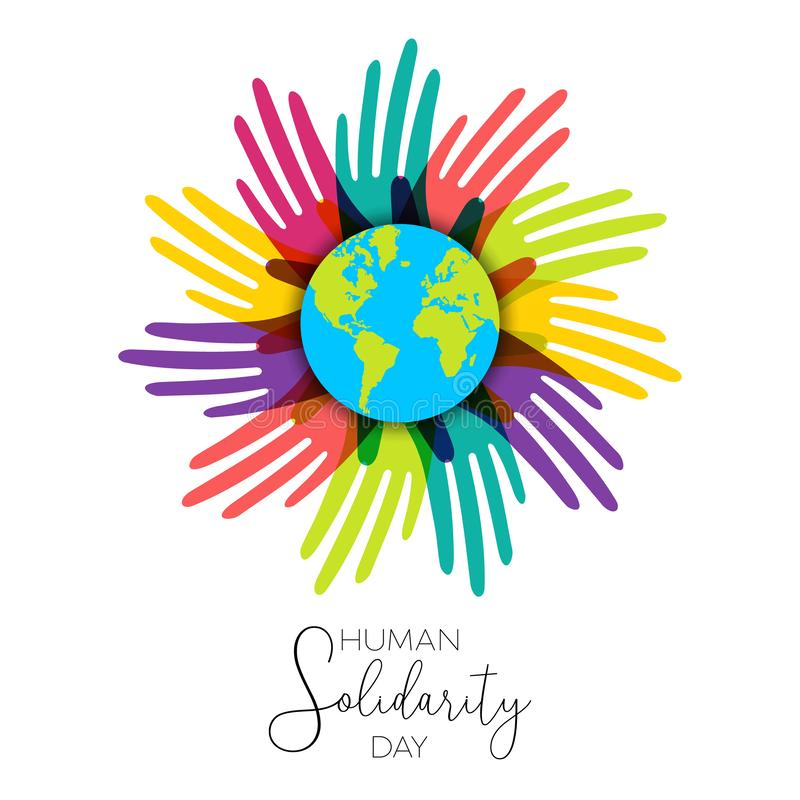 Human Solidarity Day hands of diverse world. International Human Solidarity Day illustration with colorful hands around the world from different cultures helping stock illustration