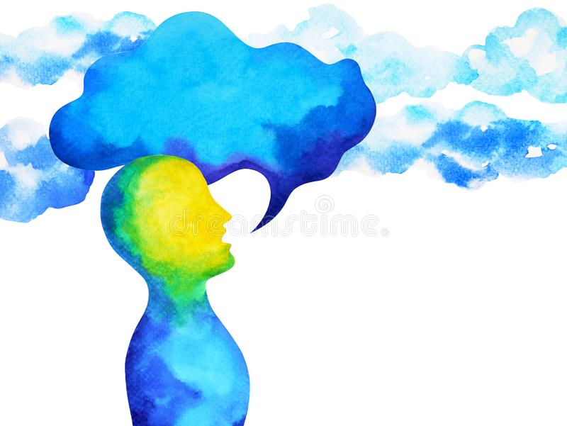 Human speaking and listening power of mastermind together inside your mind, watercolor painting hand drawn. Art stock illustration