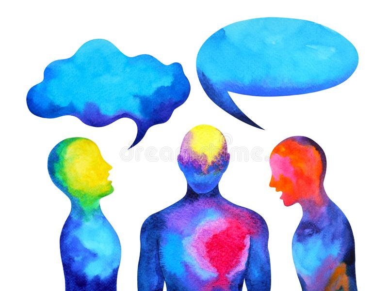 Human speaking and listening power of mastermind together inside your mind, watercolor painting hand drawn. Human speaking and listening power of mastermind royalty free illustration