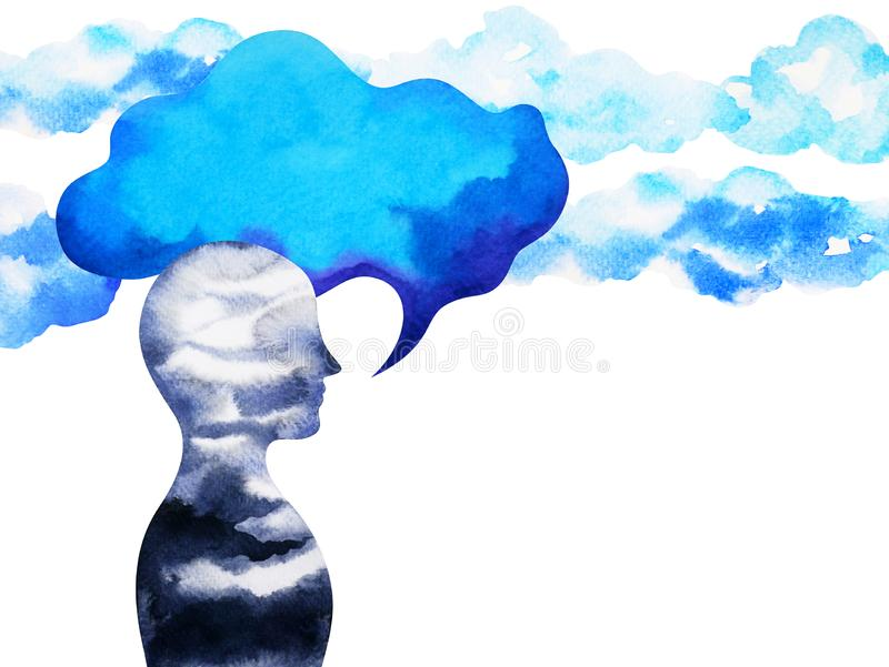 Human speaking and listening power of mastermind together inside your mind, watercolor painting hand drawn. Art royalty free illustration