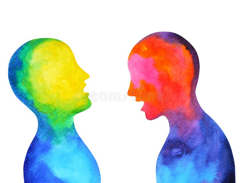 Human speaking listening power of mastermind together world universe. Inside your mind, watercolor painting hand drawn royalty free illustration