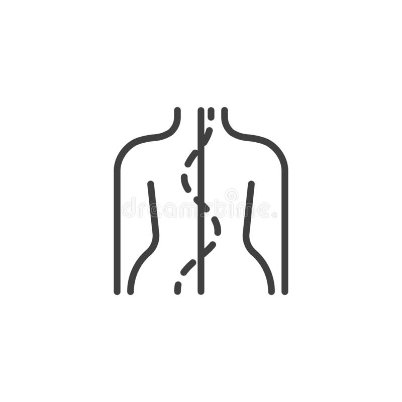 Human spine line icon. Orthopedic rehabilitation linear style sign for mobile concept and web design. Spinal deformation outline vector icon. Symbol, logo vector illustration