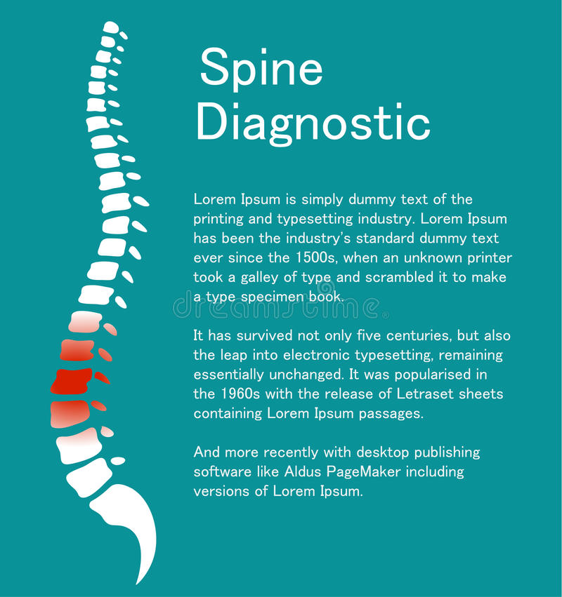 Human spine. Template with backbone. Human spine. Medical template about backbone. A symbol for healthy vertebras. Vector illustration royalty free illustration