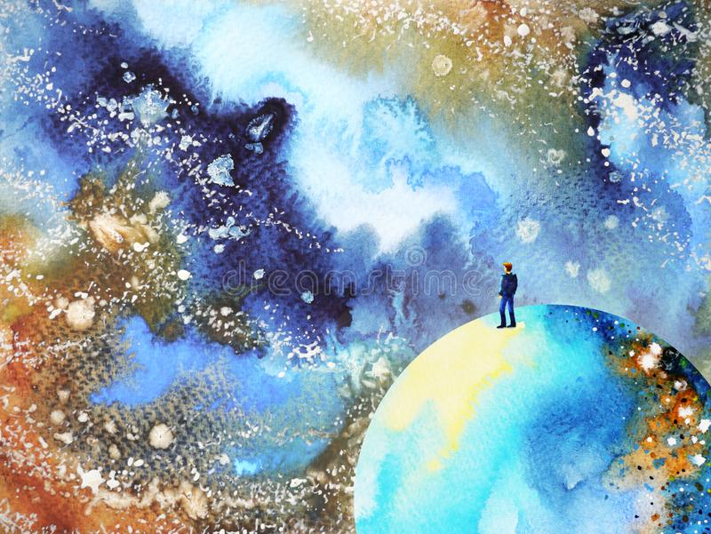 Human and spirit powerful energy connect mind universe power abstract. Art watercolor painting illustration design hand drawing stock illustration