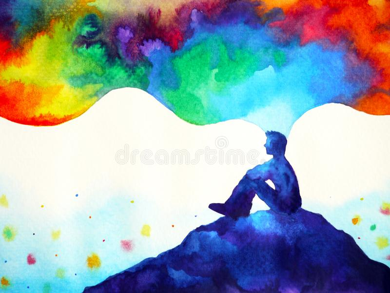 Human and spirit powerful energy connect to the universe power abstract art watercolor painting illustration design hand drawing. Human and spirit powerful vector illustration