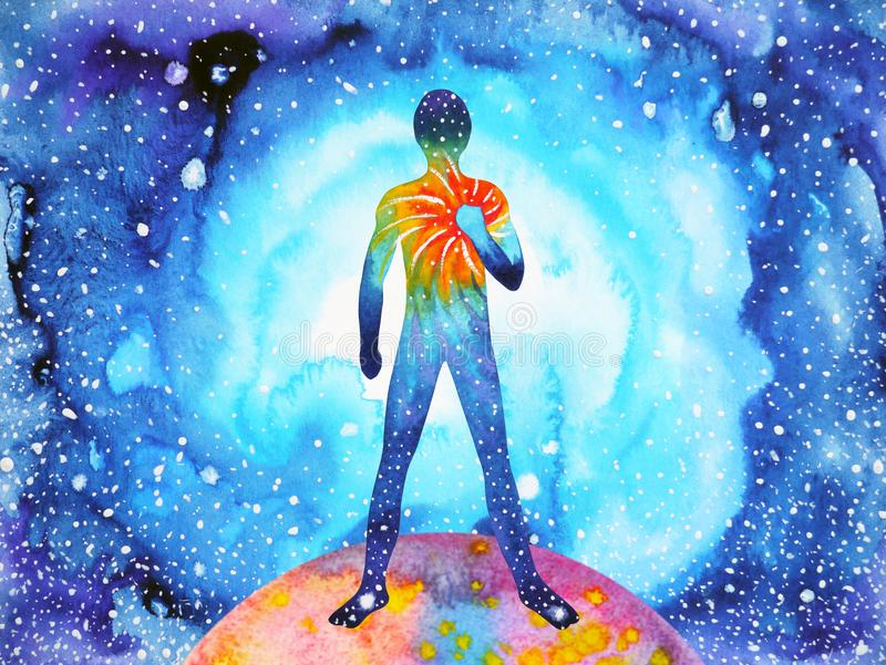Human and spirit powerful energy connect to the universe power vector illustration