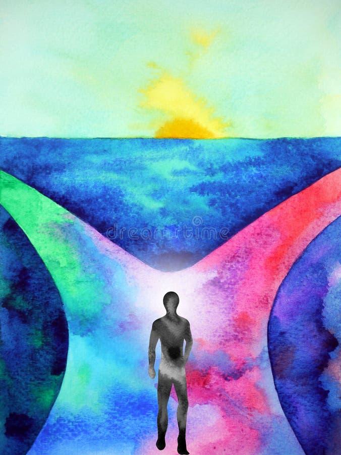 Human spirital energy walking on way to choose between 2 choice watercolor painting illustration design royalty free stock image