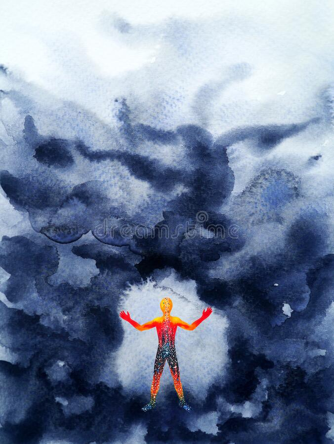 Free Human Spiritual Power Mind Mental Healing Watercolor Painting Illustration Design Hand Drawing Stock Photo - 176782900