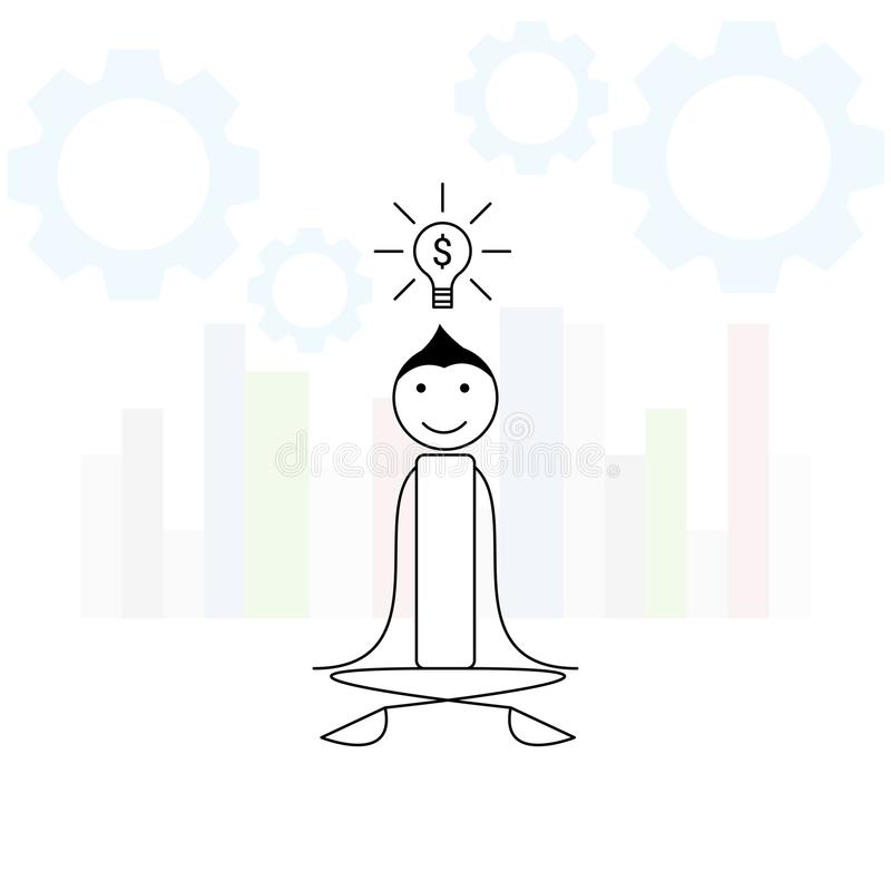 Human stick figure in meditation think of business idea. Human stick figure in meditation think of a business idea vector illustration
