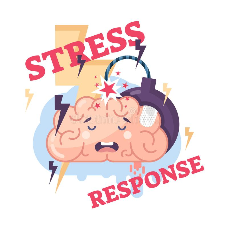 Human stress response system conceptual vector illustration brain character. royalty free illustration