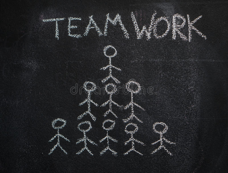Human team pyramid and teamwork word on black chalkboard royalty free stock images