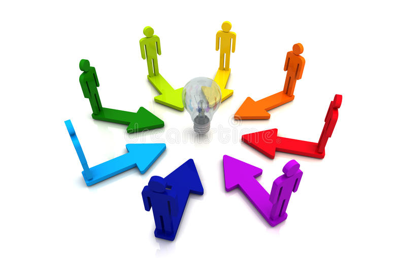 Human teamwork direction concept light bulb link colorful white background vector illustration