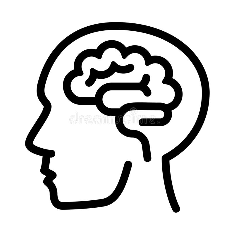 Human think brain icon, outline style stock illustration