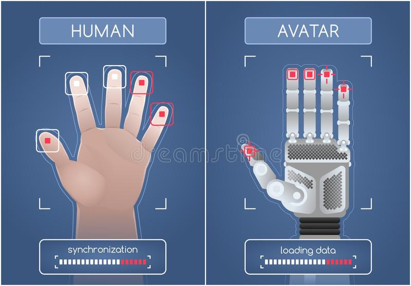 Human To Robot/Avatar Interface. Men`s hand and mechanical hand, synchronizing via the computer interface. Graphic illustration on the subject of `Future royalty free illustration
