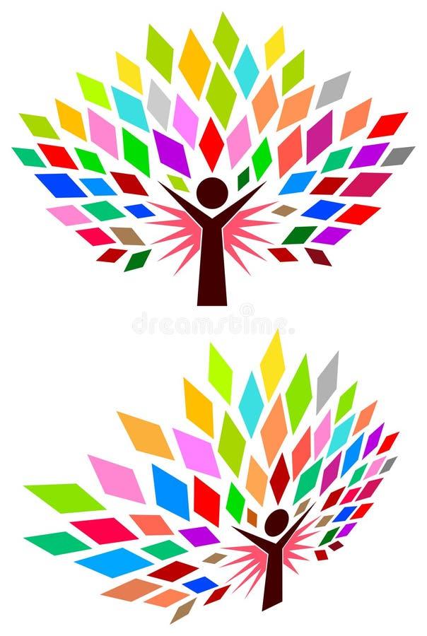 Human tree. Isolated line art image stock illustration