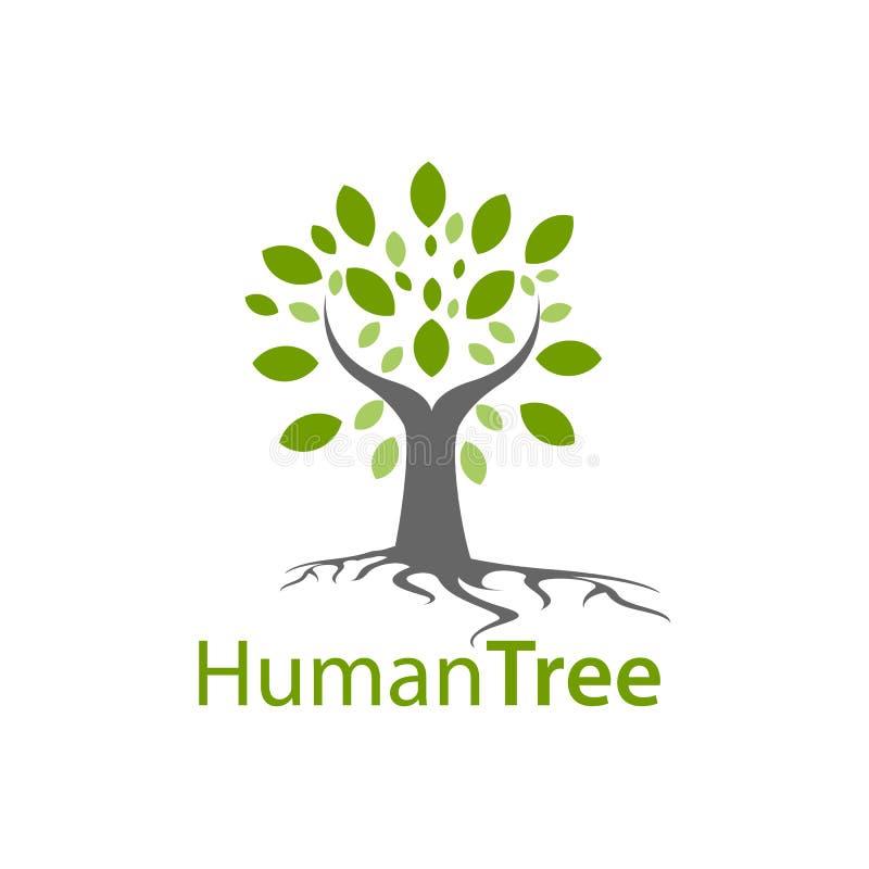 Human tree logo concept design. Symbol graphic template element royalty free illustration