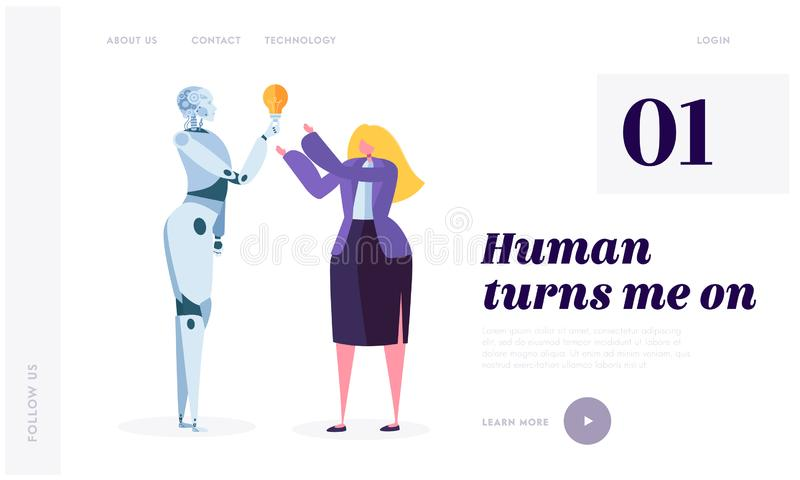 Human Turn on Robot Landing Page. Development Robotic is Future of World. Artificial Intelligence, Machine Learning. And Computational Neuroscience Website or royalty free illustration