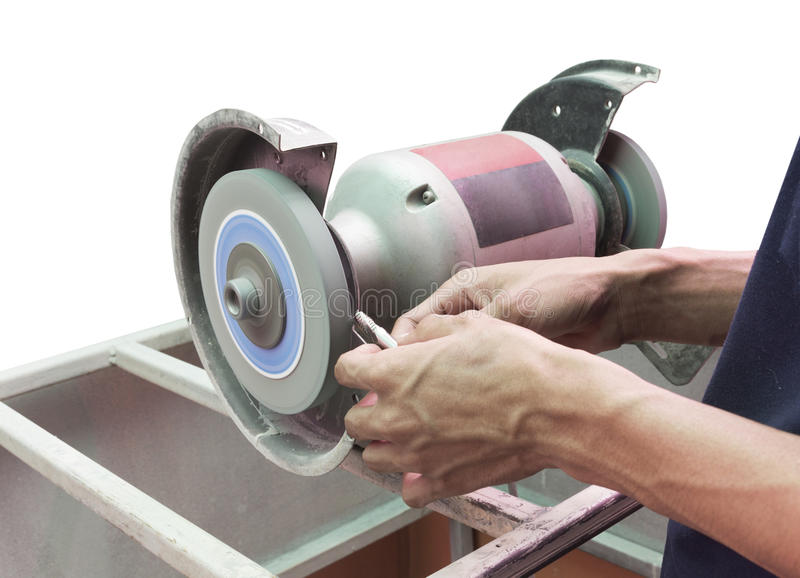 Human use grinding machine sharpened cutting tool isolate stock photos