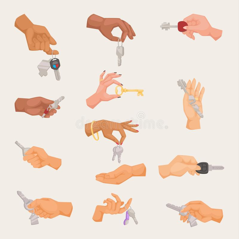 Human vector hand holding apartment male and female gesture sign isolated on background. Security house concept symbol stock illustration