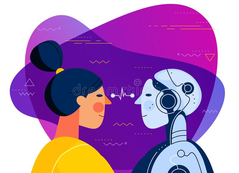 Human vs artificial intelligence concept trendy illustration royalty free illustration