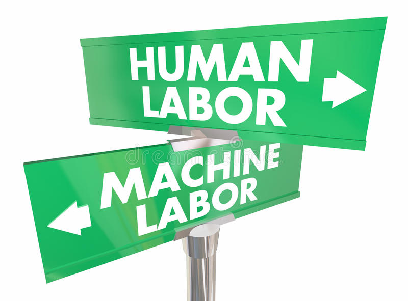 Human Vs Machine Labor Automation Digital Workers Signs 3d Illus. Tration vector illustration