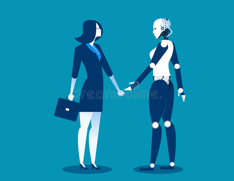 Human vs robot,Businesswoman standing with robot. Concept business automation future illustration. Vector cartoon character and ab. Stract stock illustration