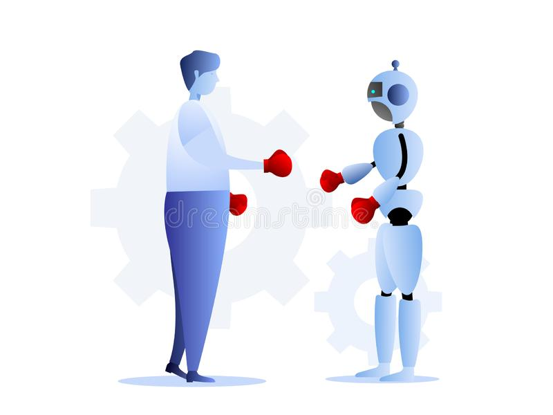 Human vs robots business challenge concept vector illustration