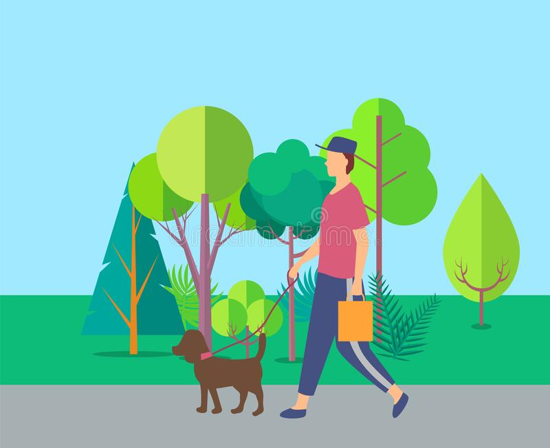 Human Walking with Dog near Trees, Leisure Vector. Person going with dog in park, side view of human in casual clothes, pet with lead, man or woman holding vector illustration
