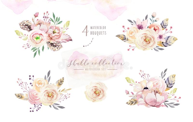 Human watercolor skull with floral bouquets. Head vintage helloween illustration. Retro tattoo death design vector illustration