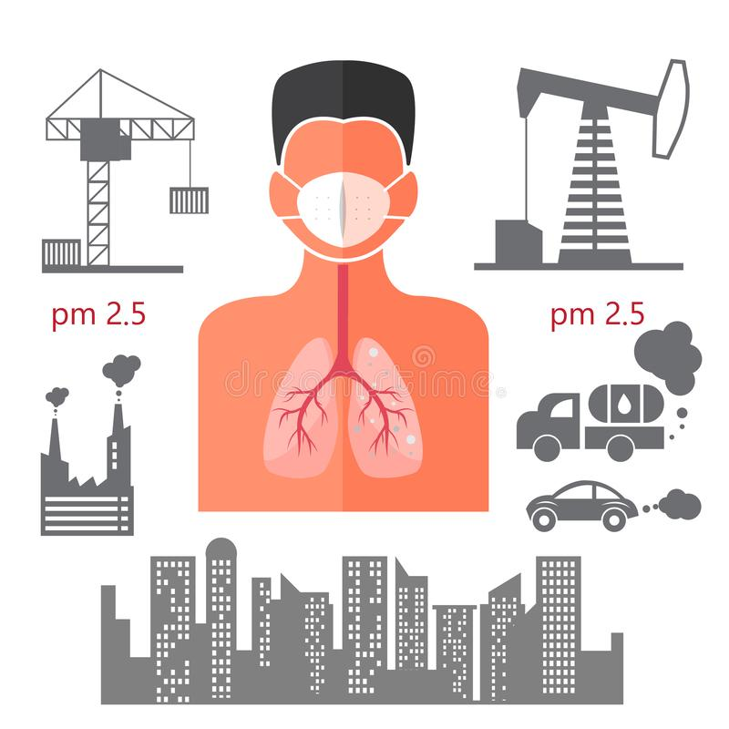 Humand body danger for lung effect from pm 2.5 info icons illustrator. vector illustration