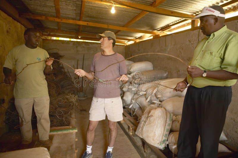 Humane society Chief Executive Officer, Wayne Pacelle, reviewing animal snares at David Sheldrick Wildlife Trust in Tsavo national. Park, Kenya royalty free stock images