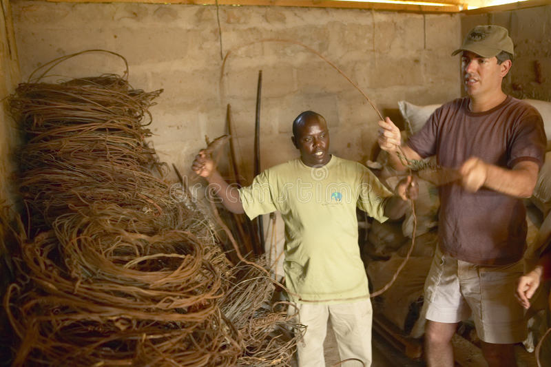 Humane society Chief Executive Officer, Wayne Pacelle, reviewing animal snares at David Sheldrick Wildlife Trust in Tsavo national. Park, Kenya royalty free stock photo