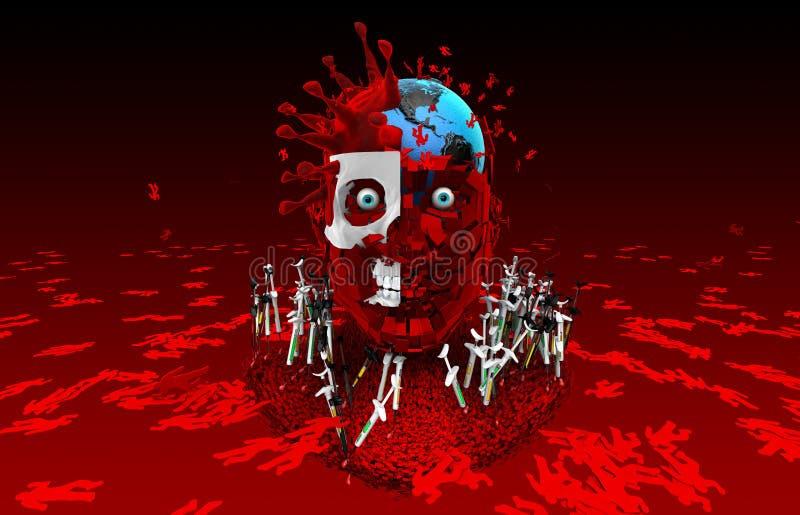 Humanidad de la matanza de los virus Get vacunó Lucha contra el virus libre illustration