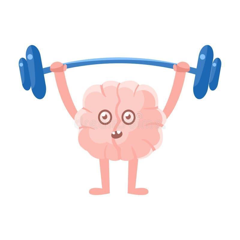 Humaniserad Brain Doing Heavy Weight Lifting övning i idrottshallen, Emoji för tecken för tecknad film för mänskligt organ för in royaltyfri illustrationer