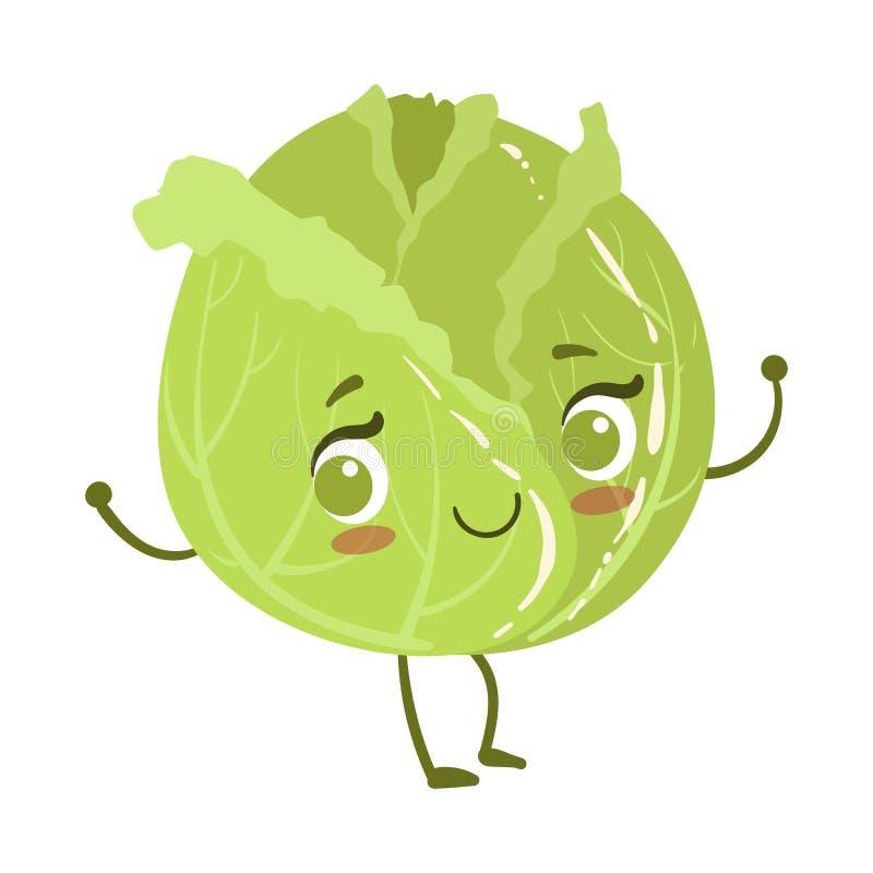 Humaniserad gullig Anime för kål le för Emoji för tecken för tecknad filmgrönsakmat illustrationen vektor royaltyfri illustrationer