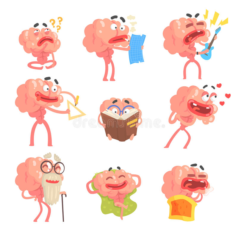 Humaniserade Brain Cartoon Character With Arms och för för livplatser och sinnesrörelser för ben rolig uppsättning av illustratio vektor illustrationer