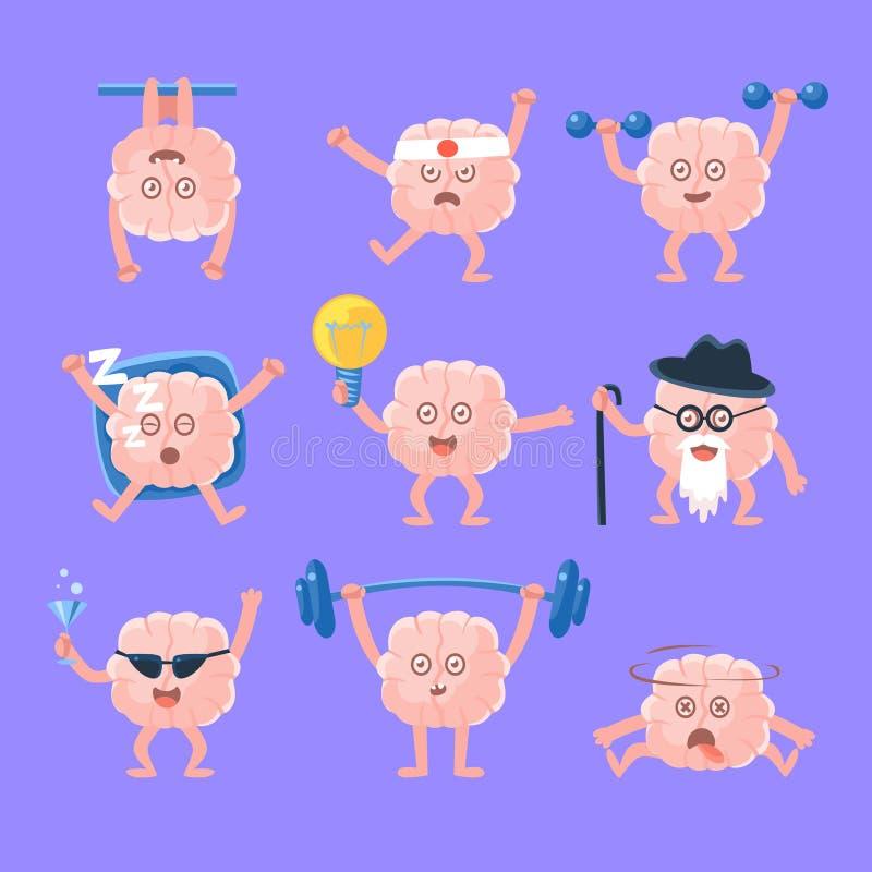 Humaniserade Brain Doing Different Activities Set av teckenet för tecknad film för mänskligt organ för intellekt Emoji vektor illustrationer