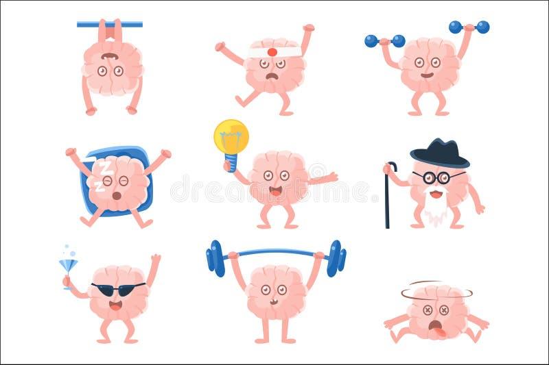Humaniserade Brain Doing Different Activities Set av teckenet f?r tecknad film f?r m?nskligt organ f?r intellekt Emoji vektor illustrationer