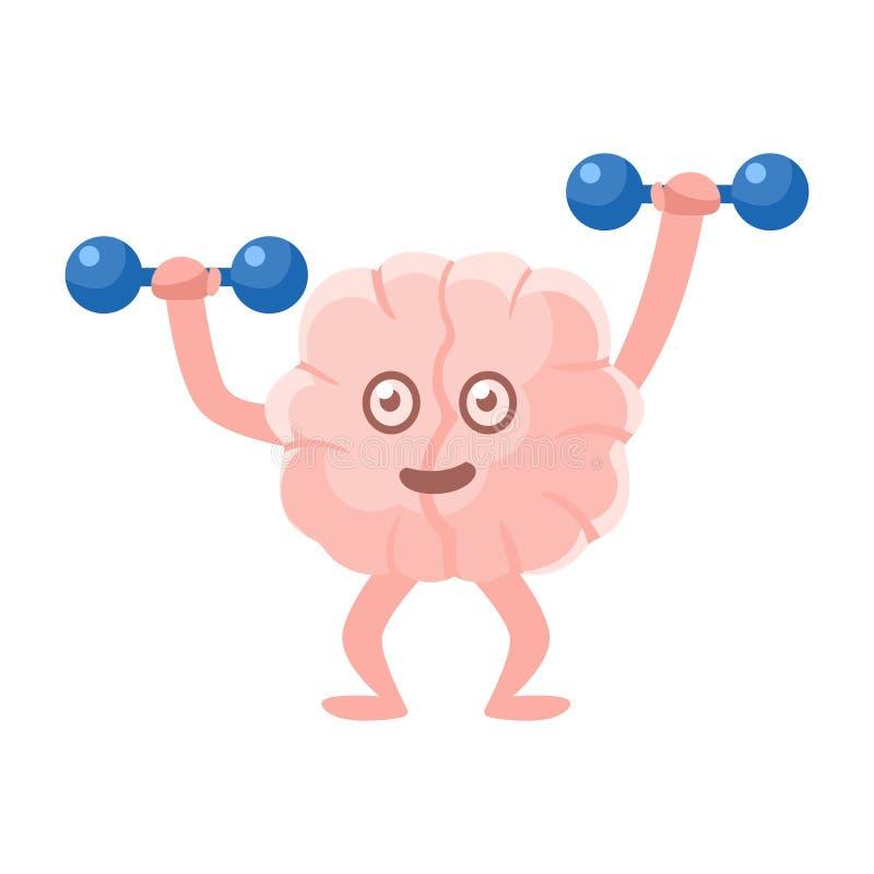 Humaniserade Brain Working Out In Gym med hantlar, Emoji för tecken för tecknad film för mänskligt organ för intellekt symbol royaltyfri illustrationer