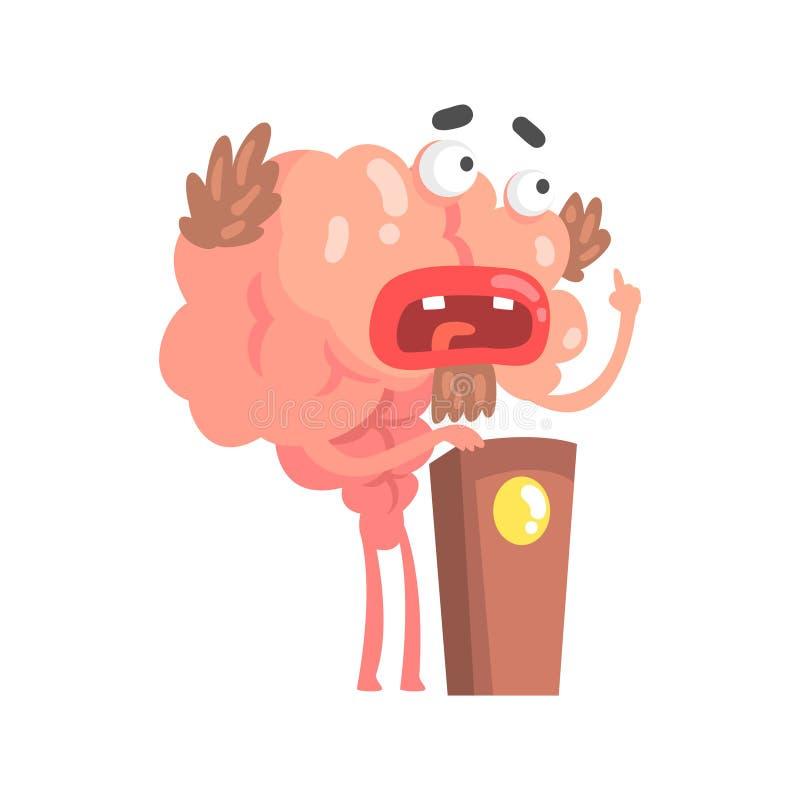 Humaniserat tecknad filmhjärntecken som talar från tribun, illustration för vektor för mänskligt organ för intellekt vektor illustrationer