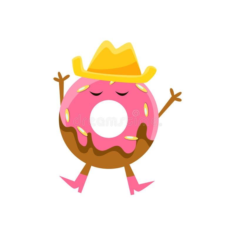 Humanisierter Donut mit dem rosa Glasieren und Cowboy Hat Cartoon Character mit den Armen und den Beinen lizenzfreie abbildung