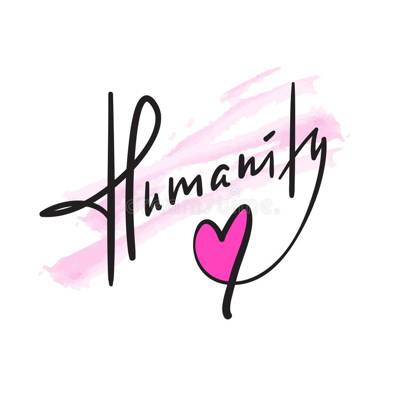 Humanité - simple inspirez et citation de motivation Beau lettrage tiré par la main impression illustration libre de droits