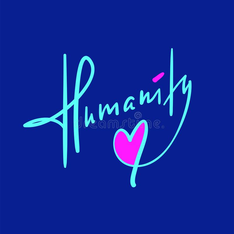 Humanité - simple inspirez et citation de motivation Beau lettrage tiré par la main illustration libre de droits