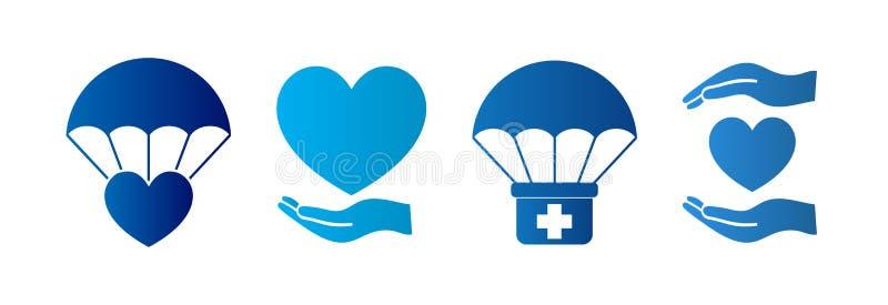 Humanitarian Aid Isolated Icon Set. Vector stock illustration