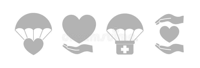 Humanitarian Aid Light Gray Isolated Icon Set. Vector vector illustration