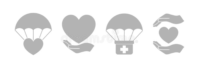 Humanitarian Aid Light Gray Isolated Icon Set. Vector royalty free illustration