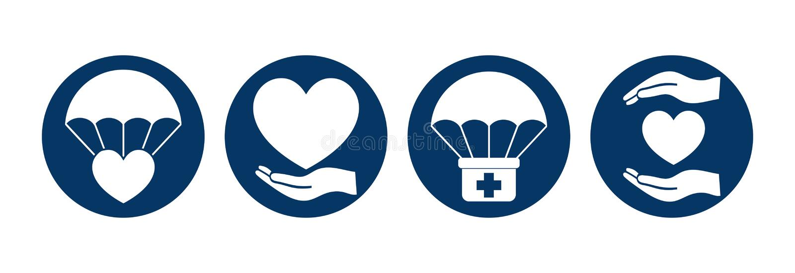 Humanitarian Aid Round Isolated Icon Set. Vector vector illustration