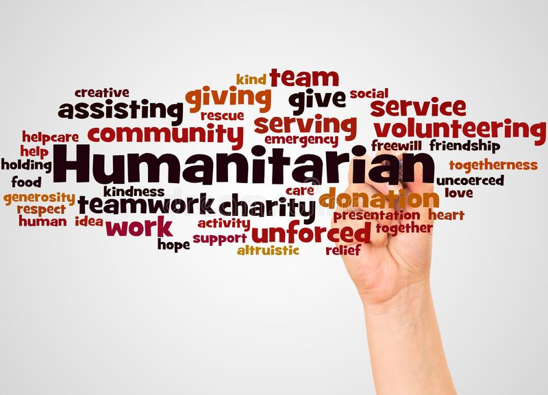 Humanitarian word cloud and hand with marker concept. On gradient background royalty free stock photos