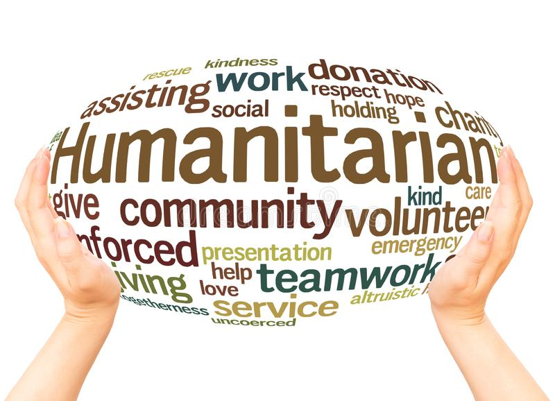 Humanitarian word cloud hand sphere concept. On white background royalty free stock photos